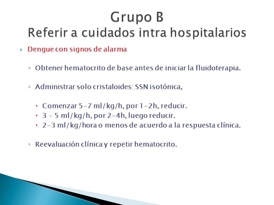 Dengue con signos de alarma Obtener hematocrito de base antes de iniciar la fluidoterapia. Administrar solo cristaloides: SSN isotónica, Comenzar 5-7