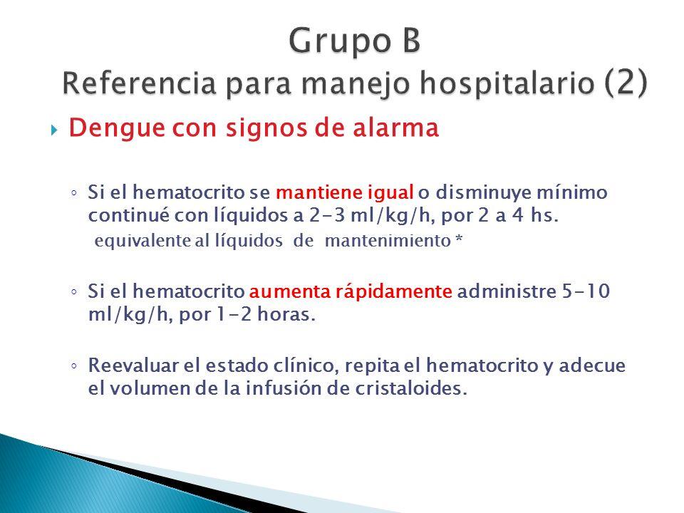 Dengue con signos de alarma Si el hematocrito se mantiene igual o disminuye mínimo continué con líquidos a 2-3 ml/kg/h, por 2 a 4 hs. equivalente al l