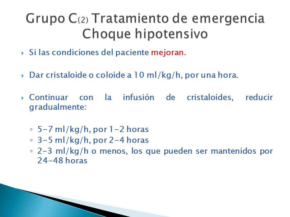 Si las condiciones del paciente mejoran. Dar cristaloide o coloide a 10 ml/kg/h, por una hora. Continuar con la infusión de cristaloides, reducir grad