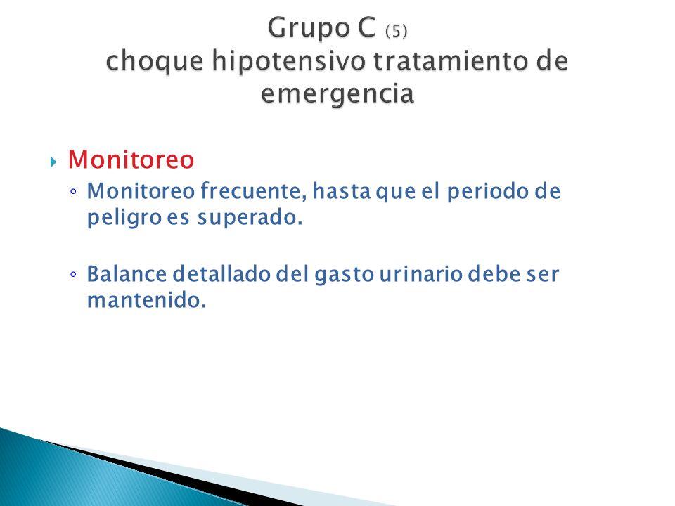 Monitoreo Monitoreo frecuente, hasta que el periodo de peligro es superado. Balance detallado del gasto urinario debe ser mantenido.
