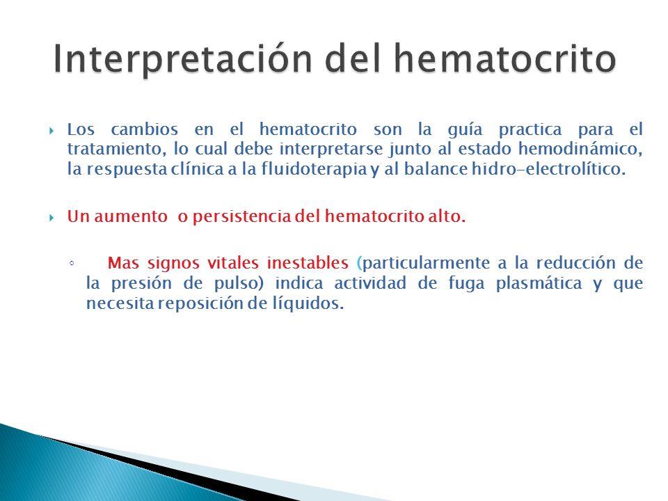 Los cambios en el hematocrito son la guía practica para el tratamiento, lo cual debe interpretarse junto al estado hemodinámico, la respuesta clínica