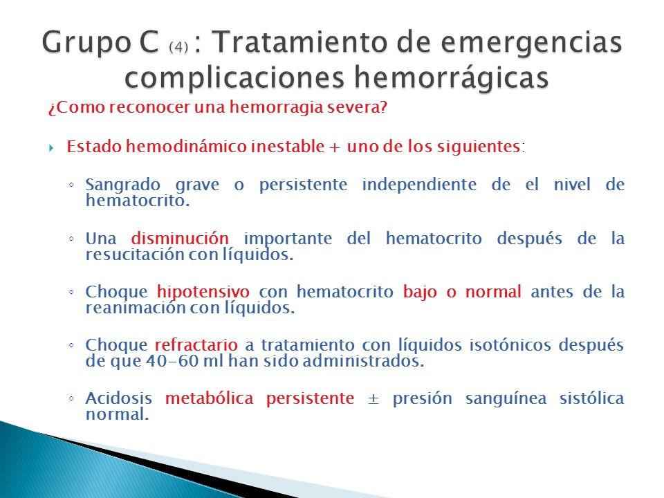 ¿Como reconocer una hemorragia severa? Estado hemodinámico inestable + uno de los siguientes: Sangrado grave o persistente independiente de el nivel d