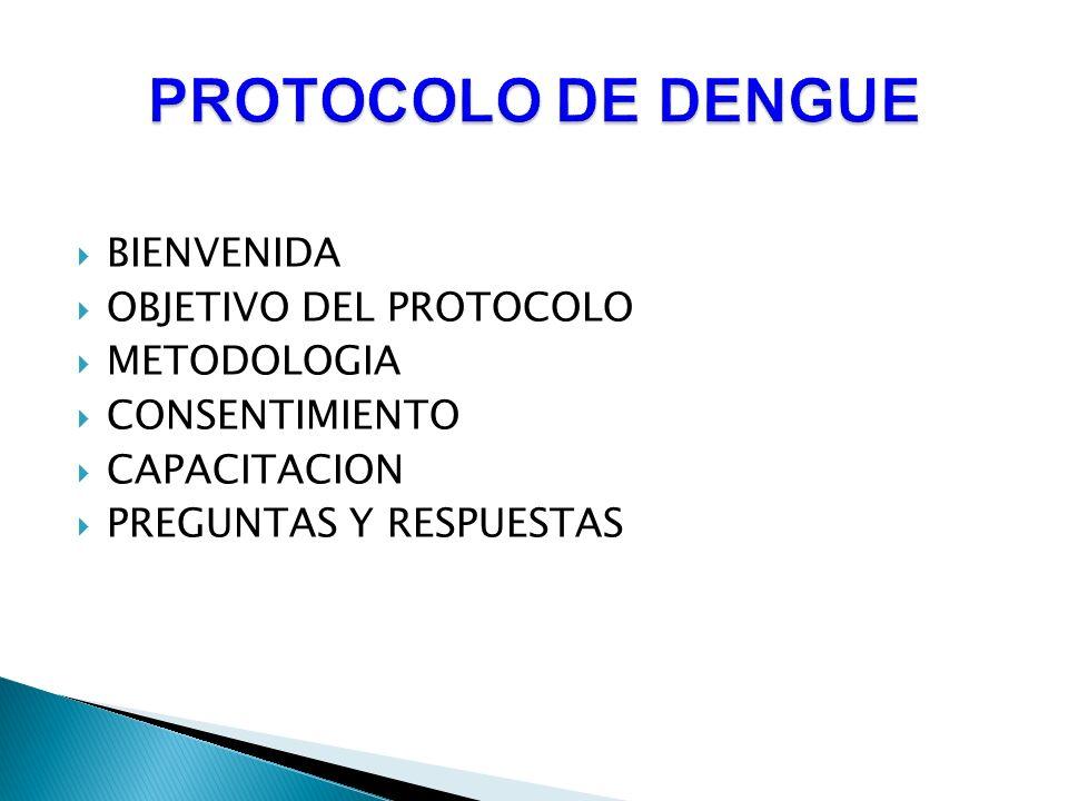 BIENVENIDA OBJETIVO DEL PROTOCOLO METODOLOGIA CONSENTIMIENTO CAPACITACION PREGUNTAS Y RESPUESTAS