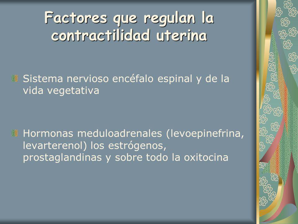 Factores que regulan la contractilidad uterina Sistema nervioso encéfalo espinal y de la vida vegetativa Hormonas meduloadrenales (levoepinefrina, lev