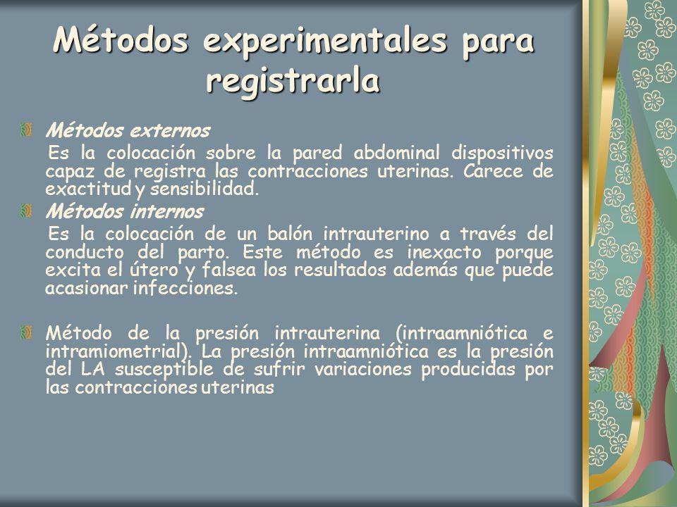 Métodos experimentales para registrarla Métodos externos Es la colocación sobre la pared abdominal dispositivos capaz de registra las contracciones ut