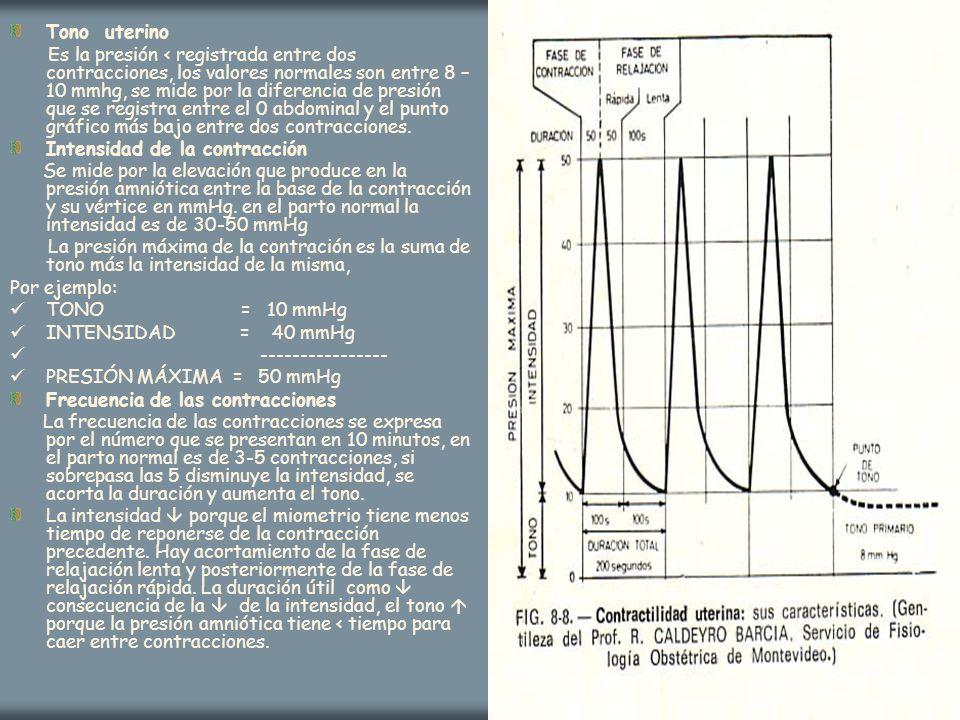 Tono uterino Es la presión < registrada entre dos contracciones, los valores normales son entre 8 – 10 mmhg, se mide por la diferencia de presión que