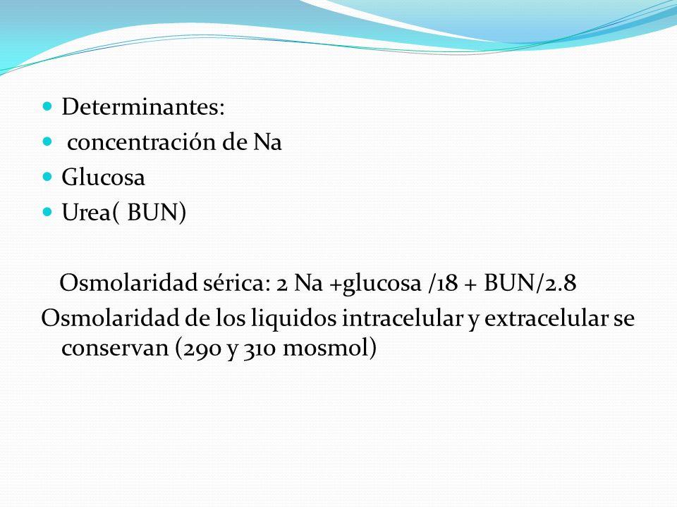 Determinantes: concentración de Na Glucosa Urea( BUN) Osmolaridad sérica: 2 Na +glucosa /18 + BUN/2.8 Osmolaridad de los liquidos intracelular y extra