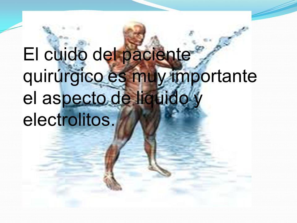 El cuido del paciente quirúrgico es muy importante el aspecto de liquido y electrolitos.