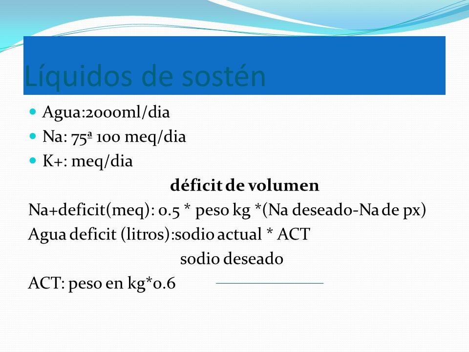 Líquidos de sostén Agua:2000ml/dia Na: 75ª 100 meq/dia K+: meq/dia déficit de volumen Na+deficit(meq): 0.5 * peso kg *(Na deseado-Na de px) Agua defic
