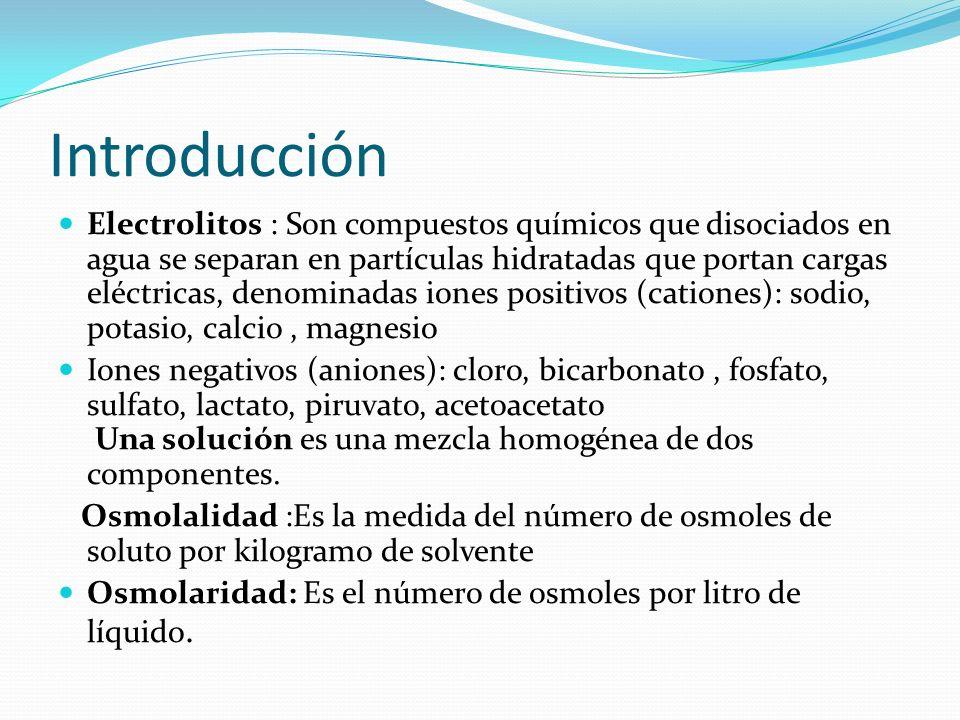 Introducción Electrolitos : Son compuestos químicos que disociados en agua se separan en partículas hidratadas que portan cargas eléctricas, denominad
