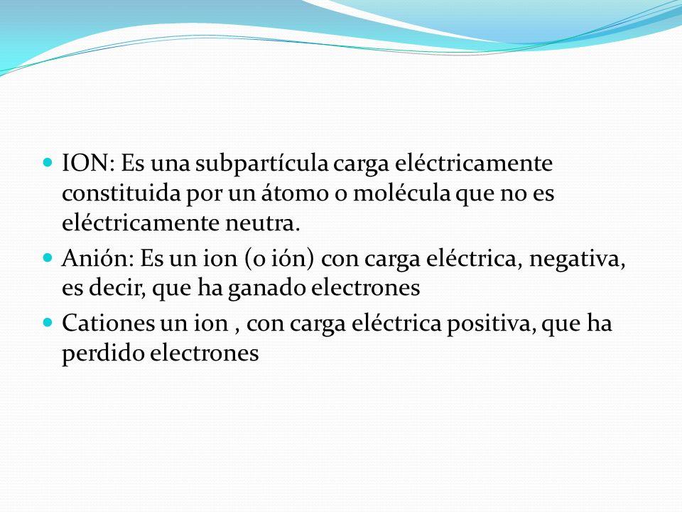 ION: Es una subpartícula carga eléctricamente constituida por un átomo o molécula que no es eléctricamente neutra. Anión: Es un ion (o ión) con carga