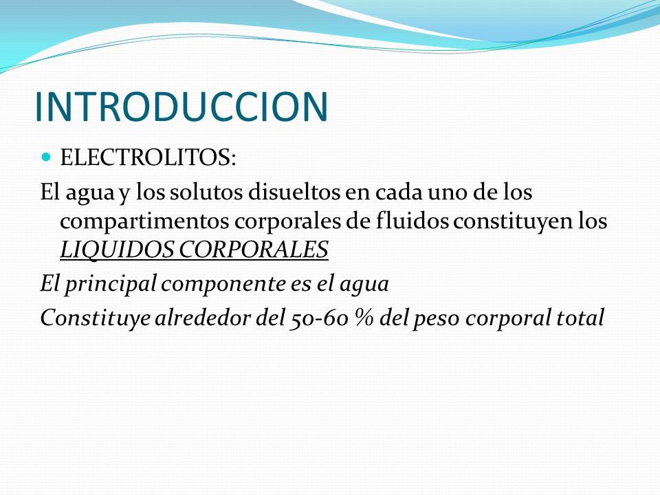 INTRODUCCION ELECTROLITOS: El agua y los solutos disueltos en cada uno de los compartimentos corporales de fluidos constituyen los LIQUIDOS CORPORALES