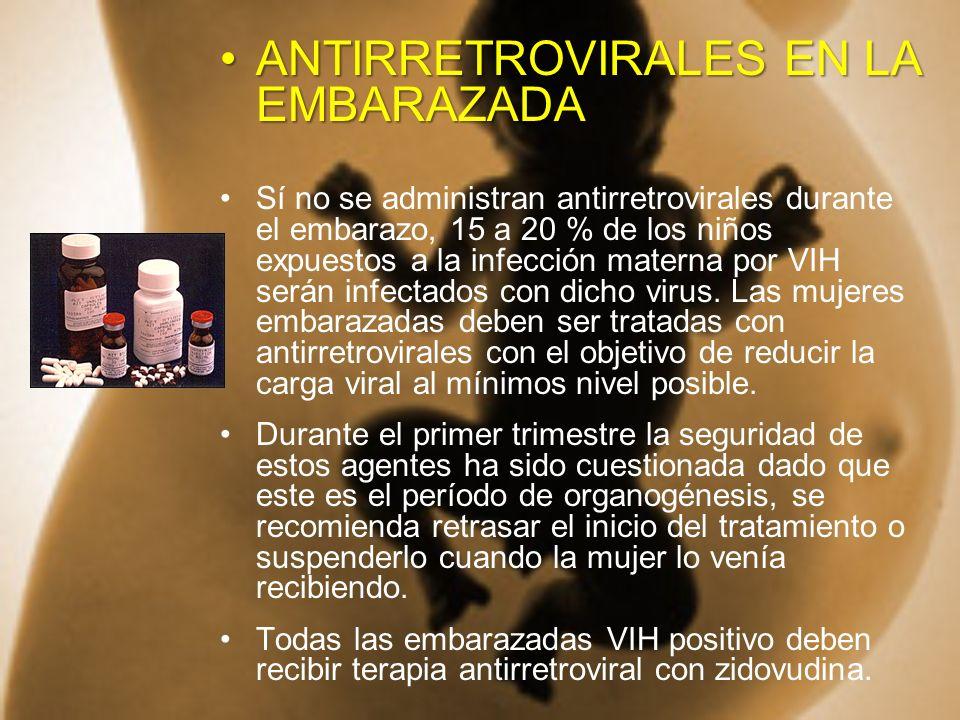 ANTIRRETROVIRALES EN LA EMBARAZADAANTIRRETROVIRALES EN LA EMBARAZADA Sí no se administran antirretrovirales durante el embarazo, 15 a 20 % de los niño