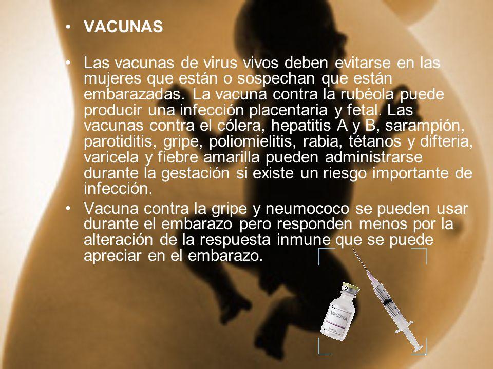 VACUNAS Las vacunas de virus vivos deben evitarse en las mujeres que están o sospechan que están embarazadas. La vacuna contra la rubéola puede produc