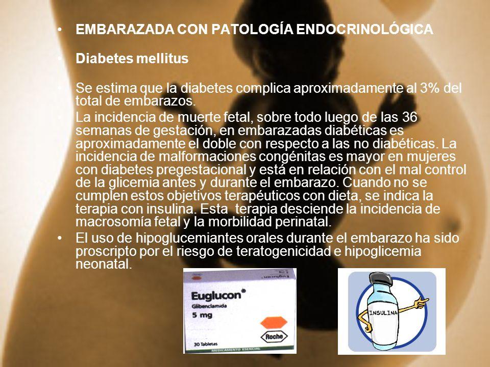 EMBARAZADA CON PATOLOGÍA ENDOCRINOLÓGICA Diabetes mellitus Se estima que la diabetes complica aproximadamente al 3% del total de embarazos. La inciden