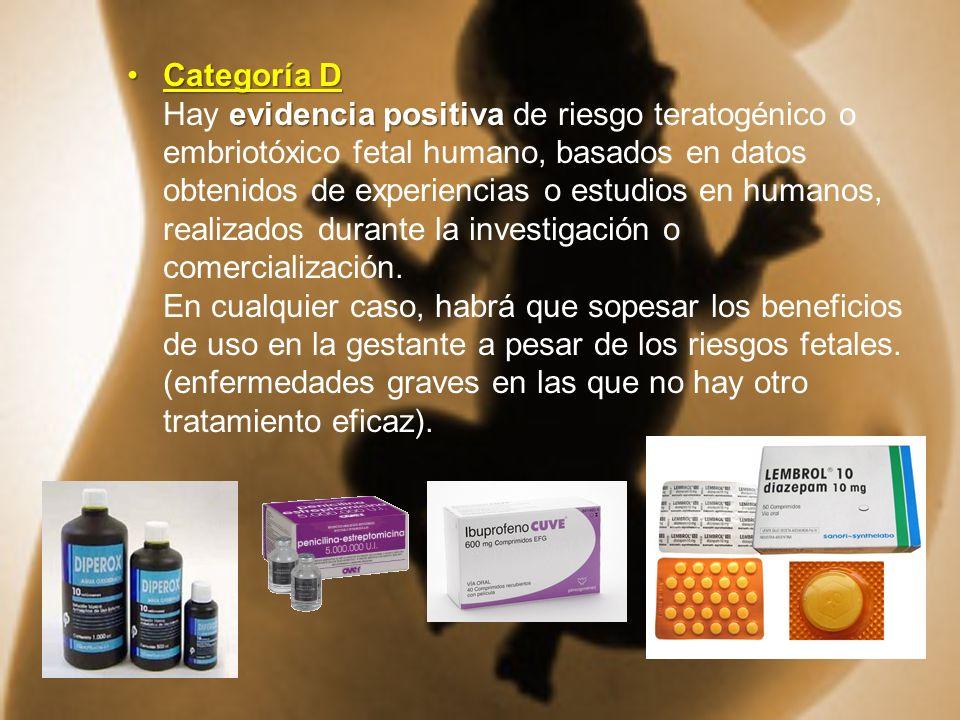 Categoría D evidencia positivaCategoría D Hay evidencia positiva de riesgo teratogénico o embriotóxico fetal humano, basados en datos obtenidos de exp