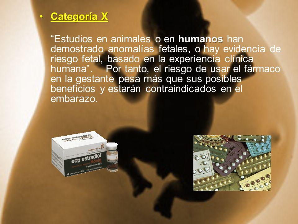 Categoría XCategoría X humanos Estudios en animales o en humanos han demostrado anomalías fetales, o hay evidencia de riesgo fetal, basado en la exper