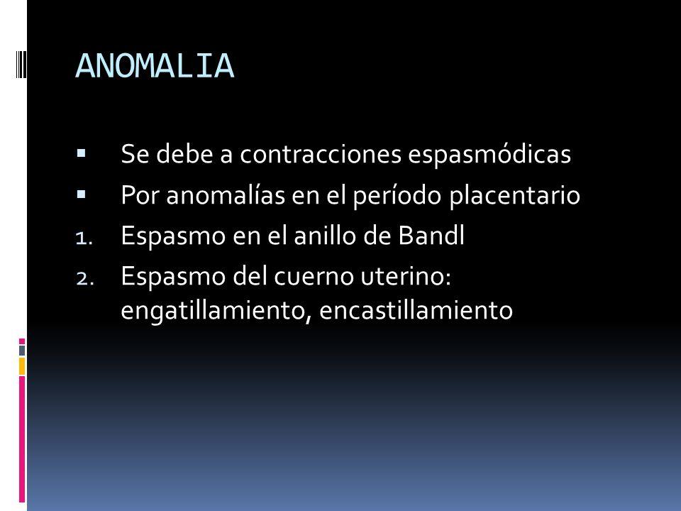 ANOMALIA Se debe a contracciones espasmódicas Por anomalías en el período placentario 1. Espasmo en el anillo de Bandl 2. Espasmo del cuerno uterino: