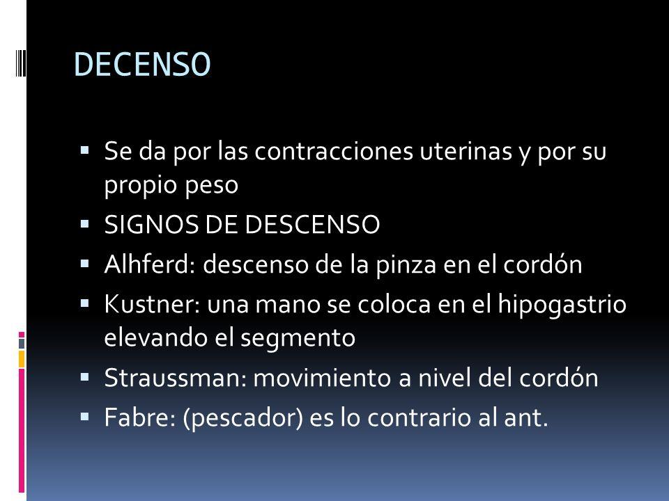 DECENSO Se da por las contracciones uterinas y por su propio peso SIGNOS DE DESCENSO Alhferd: descenso de la pinza en el cordón Kustner: una mano se c