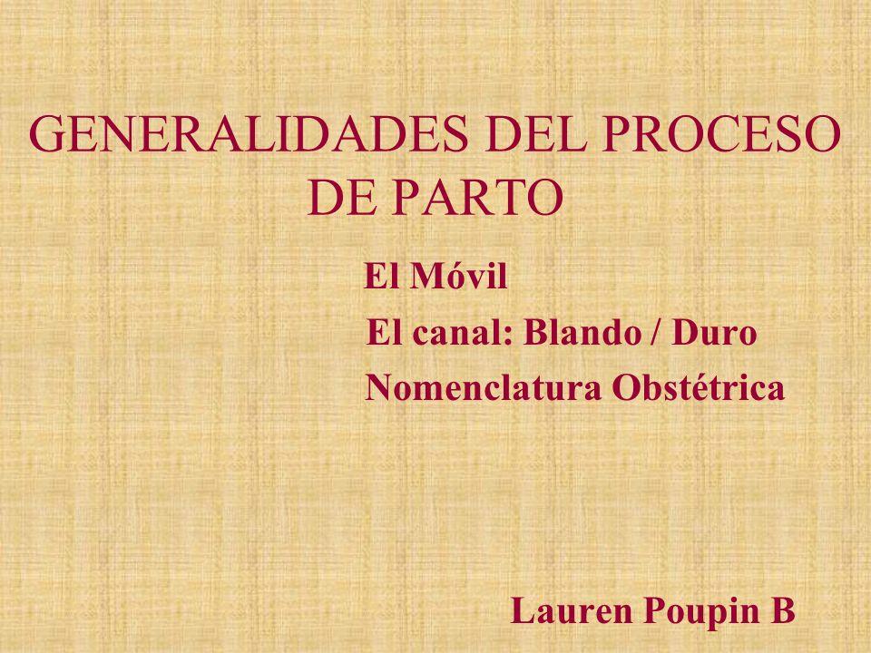 GENERALIDADES DEL PROCESO DE PARTO El Móvil El canal: Blando / Duro Nomenclatura Obstétrica Lauren Poupin B