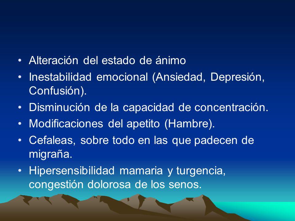 Alteración del estado de ánimo Inestabilidad emocional (Ansiedad, Depresión, Confusión). Disminución de la capacidad de concentración. Modificaciones