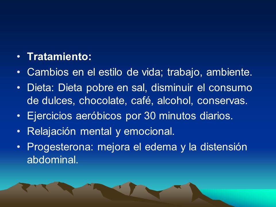 Tratamiento: Cambios en el estilo de vida; trabajo, ambiente. Dieta: Dieta pobre en sal, disminuir el consumo de dulces, chocolate, café, alcohol, con