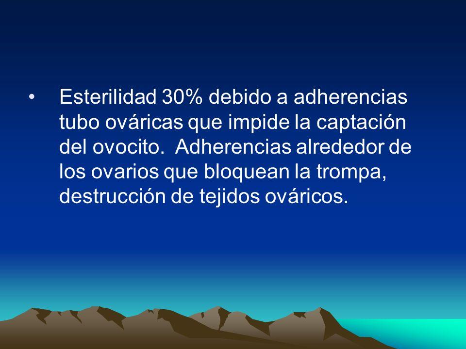 Esterilidad 30% debido a adherencias tubo ováricas que impide la captación del ovocito. Adherencias alrededor de los ovarios que bloquean la trompa, d