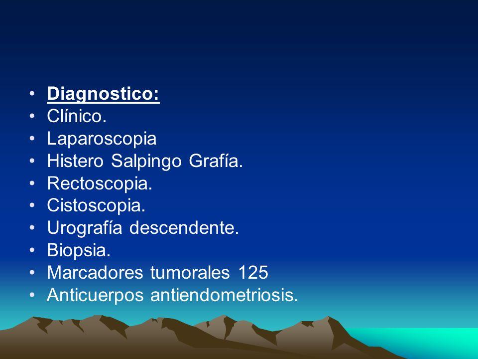 Diagnostico: Clínico. Laparoscopia Histero Salpingo Grafía. Rectoscopia. Cistoscopia. Urografía descendente. Biopsia. Marcadores tumorales 125 Anticue