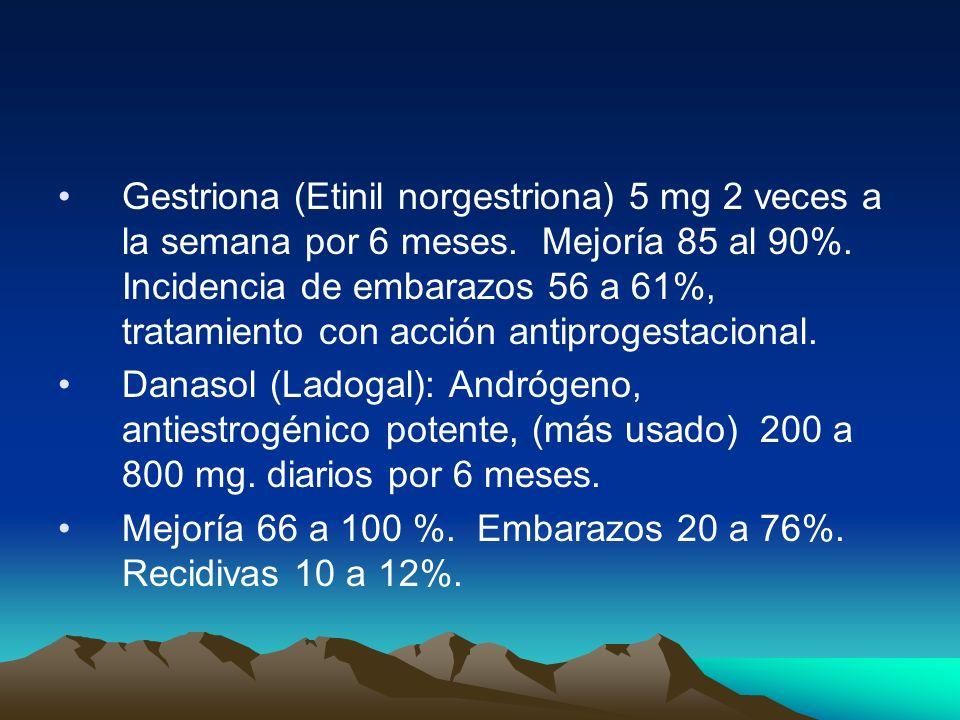 Gestriona (Etinil norgestriona) 5 mg 2 veces a la semana por 6 meses. Mejoría 85 al 90%. Incidencia de embarazos 56 a 61%, tratamiento con acción anti