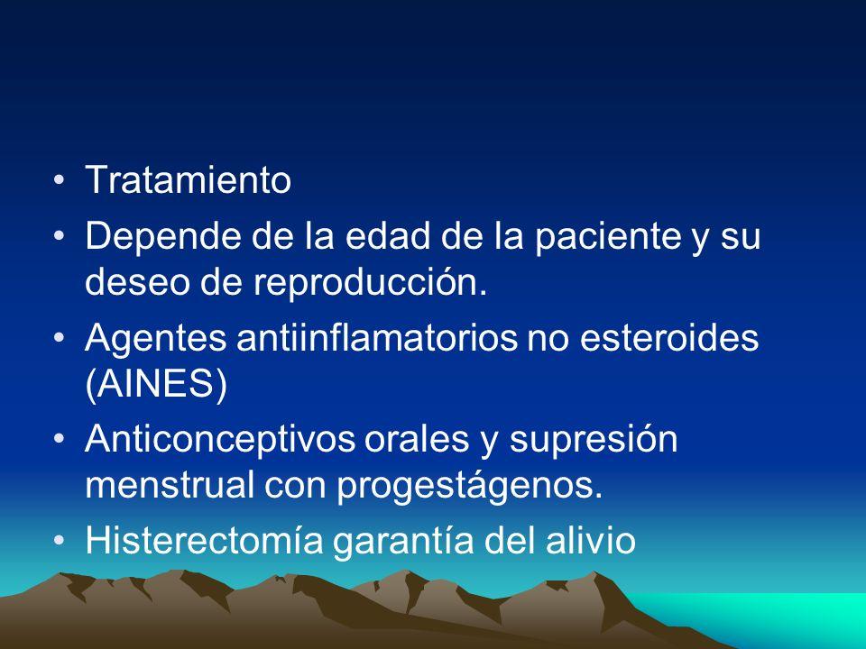 Tratamiento Depende de la edad de la paciente y su deseo de reproducción. Agentes antiinflamatorios no esteroides (AINES) Anticonceptivos orales y sup