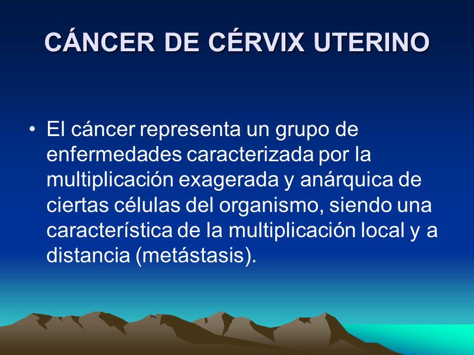 CÁNCER DE CÉRVIX UTERINO El cáncer representa un grupo de enfermedades caracterizada por la multiplicación exagerada y anárquica de ciertas células de