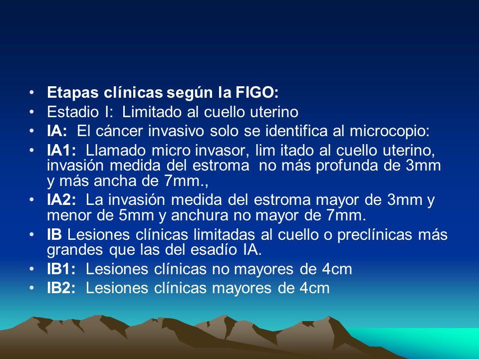 Etapas clínicas según la FIGO: Estadio I: Limitado al cuello uterino IA: El cáncer invasivo solo se identifica al microcopio: IA1: Llamado micro invas