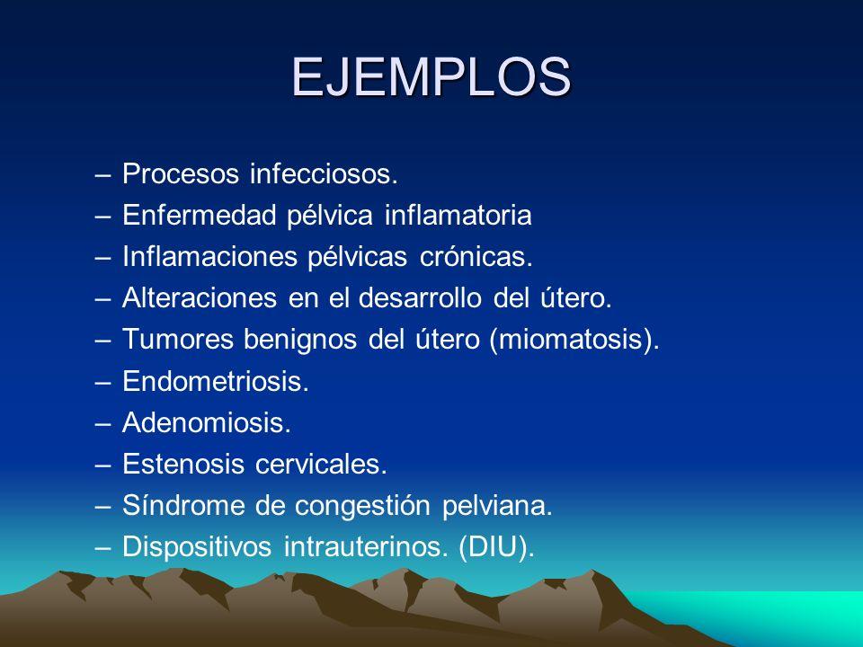 EJEMPLOS –Procesos infecciosos. –Enfermedad pélvica inflamatoria –Inflamaciones pélvicas crónicas. –Alteraciones en el desarrollo del útero. –Tumores