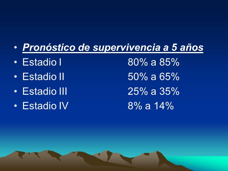 Pronóstico de supervivencia a 5 años Estadio I80% a 85% Estadio II50% a 65% Estadio III25% a 35% Estadio IV8% a 14%