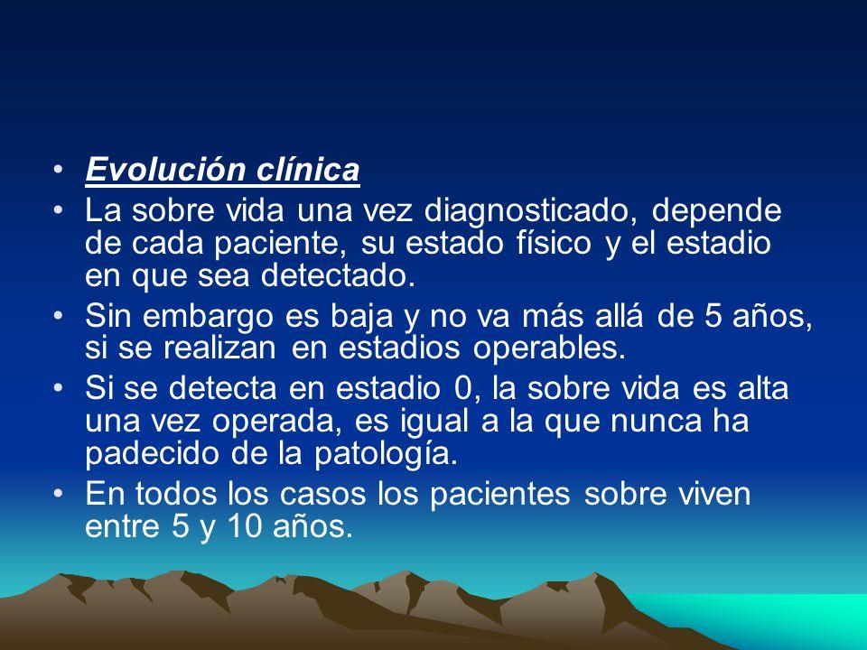 Evolución clínica La sobre vida una vez diagnosticado, depende de cada paciente, su estado físico y el estadio en que sea detectado. Sin embargo es ba