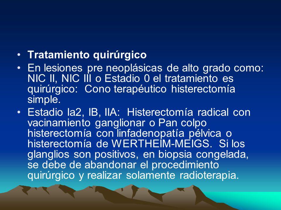 Tratamiento quirúrgico En lesiones pre neoplásicas de alto grado como: NIC II, NIC III o Estadio 0 el tratamiento es quirúrgico: Cono terapéutico hist