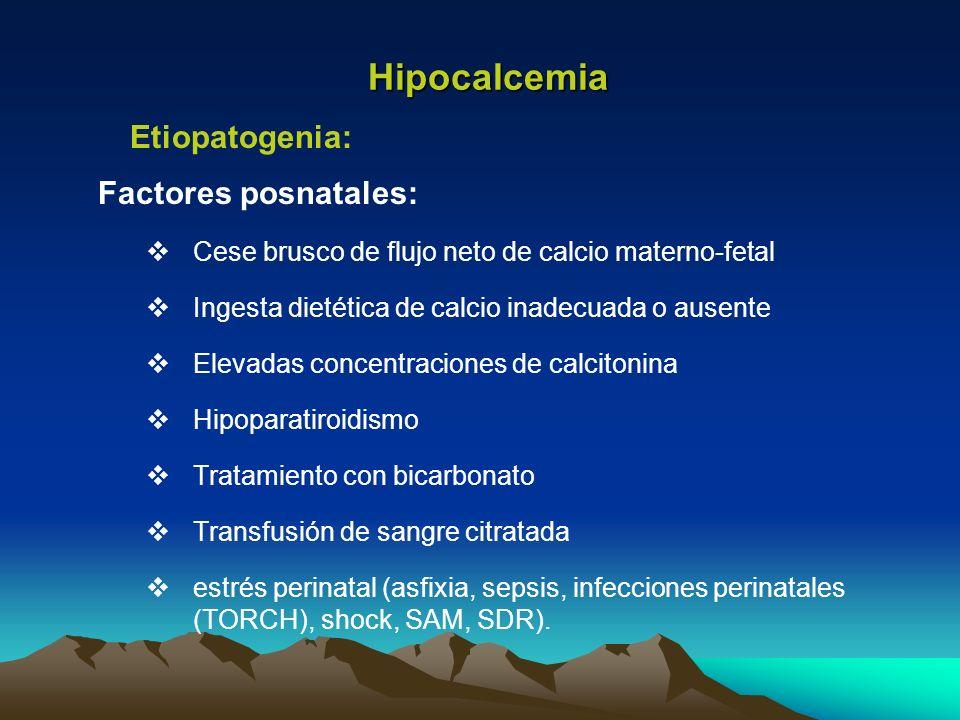 Factores posnatales: Cese brusco de flujo neto de calcio materno-fetal Ingesta dietética de calcio inadecuada o ausente Elevadas concentraciones de ca