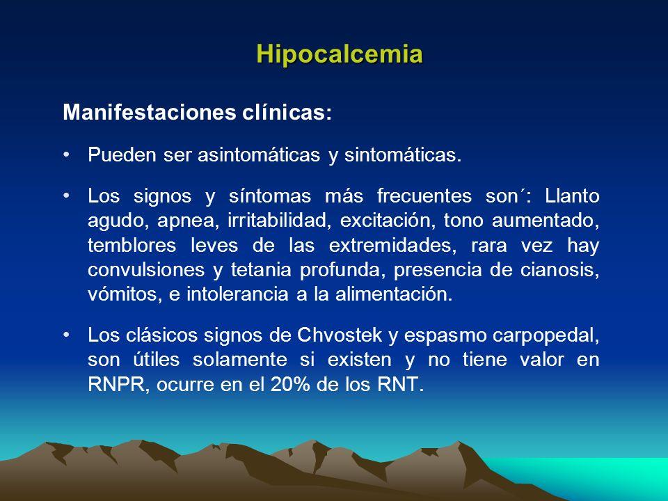 Manifestaciones clínicas : Pueden ser asintomáticas y sintomáticas. Los signos y síntomas más frecuentes son´: Llanto agudo, apnea, irritabilidad, exc