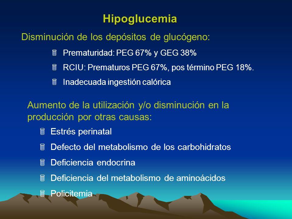 Hipoglucemia Estrés perinatal Defecto del metabolismo de los carbohidratos Deficiencia endocrina Deficiencia del metabolismo de aminoácidos Policitemi