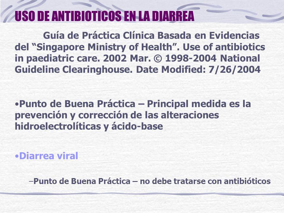 USO DE ANTIBIOTICOS EN LA DIARREA Diarrea por Salmonella no tifoidea No debe tratarse rutinariamente con antibióticos (Grado A, Nivel Ia) Antibióticos para pacientes con evidencia de diseminación extraintestinal (septicemia en < 3 meses) y en niños inmunocomprometidos (Grado C, Nivel IV) Cotrimoxazol, TMP 10mg/kg/día + SMX 50mg/kg/día c/12h; ampicilina, 200mg/kg/día c/6h, o una cefalosporina de 3a generación (ej.