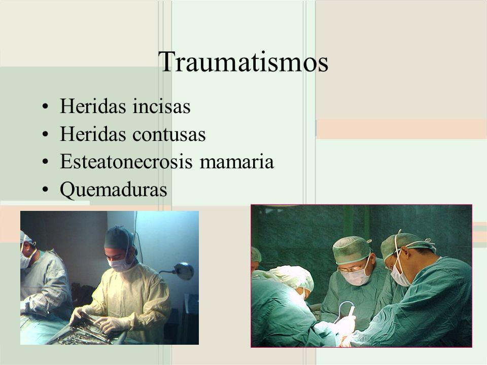 Traumatismos Heridas incisas Heridas contusas Esteatonecrosis mamaria Quemaduras