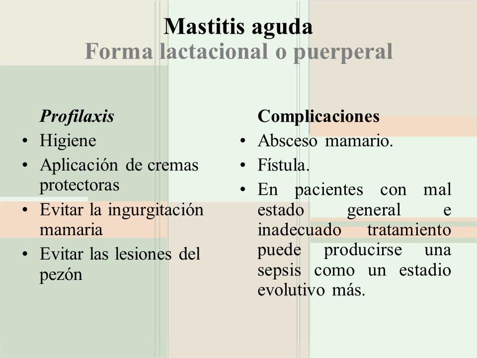 Mastitis aguda Forma lactacional o puerperal Profilaxis Higiene Aplicación de cremas protectoras Evitar la ingurgitación mamaria Evitar las lesiones d
