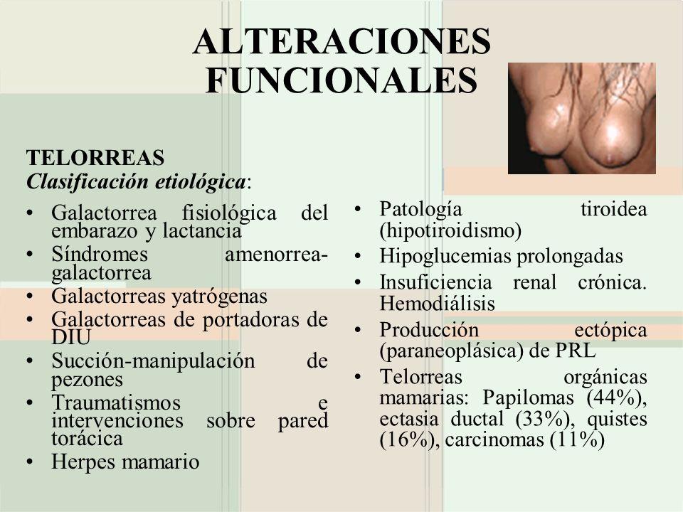 ALTERACIONES FUNCIONALES TELORREAS Clasificación etiológica: Galactorrea fisiológica del embarazo y lactancia Síndromes amenorrea- galactorrea Galacto