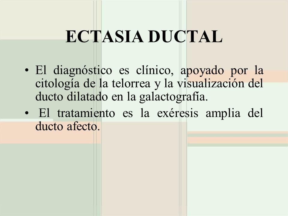 ECTASIA DUCTAL El diagnóstico es clínico, apoyado por la citología de la telorrea y la visualización del ducto dilatado en la galactografía. El tratam