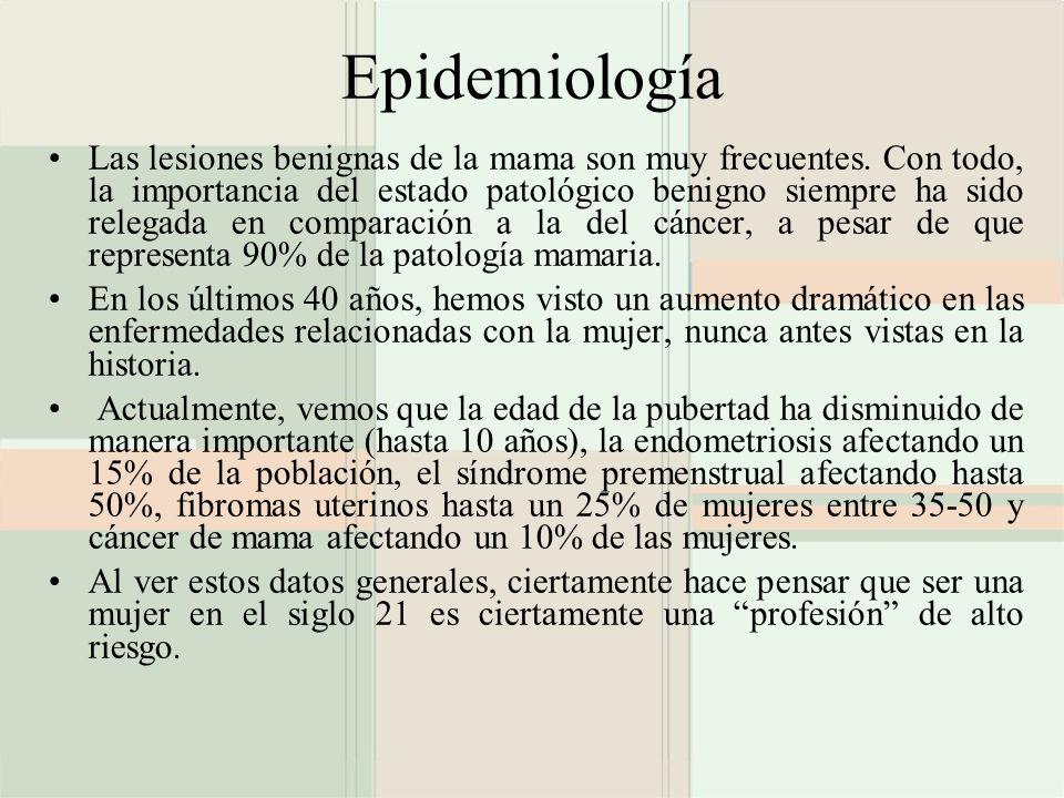 Epidemiología Las lesiones benignas de la mama son muy frecuentes. Con todo, la importancia del estado patológico benigno siempre ha sido relegada en