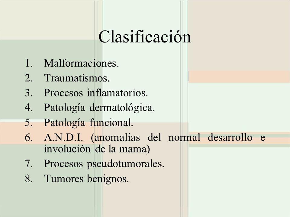 Clasificación 1.Malformaciones. 2.Traumatismos. 3.Procesos inflamatorios. 4.Patología dermatológica. 5.Patología funcional. 6.A.N.D.I. (anomalías del