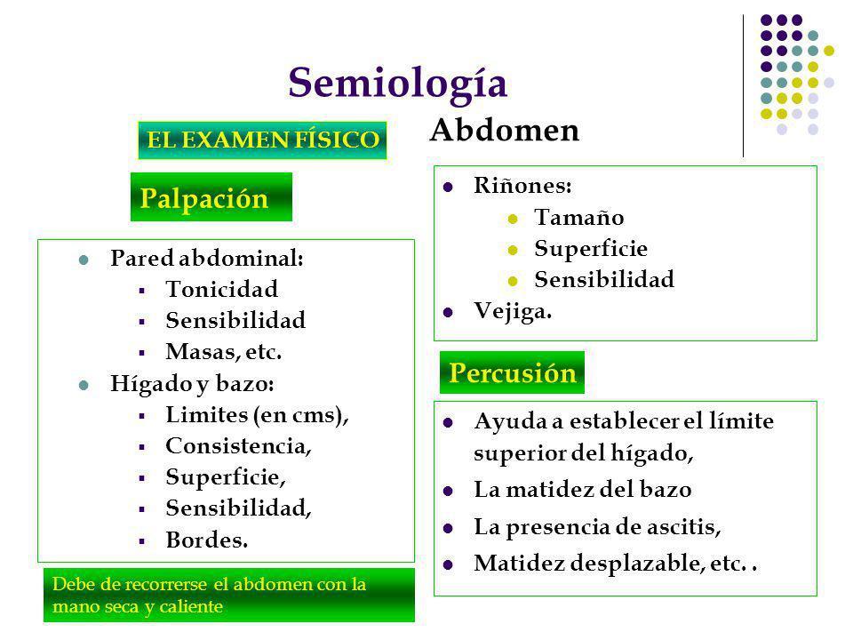Semiología EL EXAMEN FÍSICO Abdomen Palpación Debe de recorrerse el abdomen con la mano seca y caliente Pared abdominal: Tonicidad Sensibilidad Masas,
