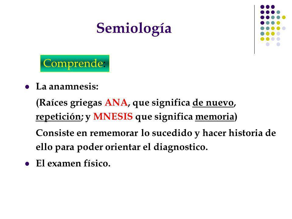 Semiología La anamnesis: (Raíces griegas ANA, que significa de nuevo, repetición; y MNESIS que significa memoria) Consiste en rememorar lo sucedido y