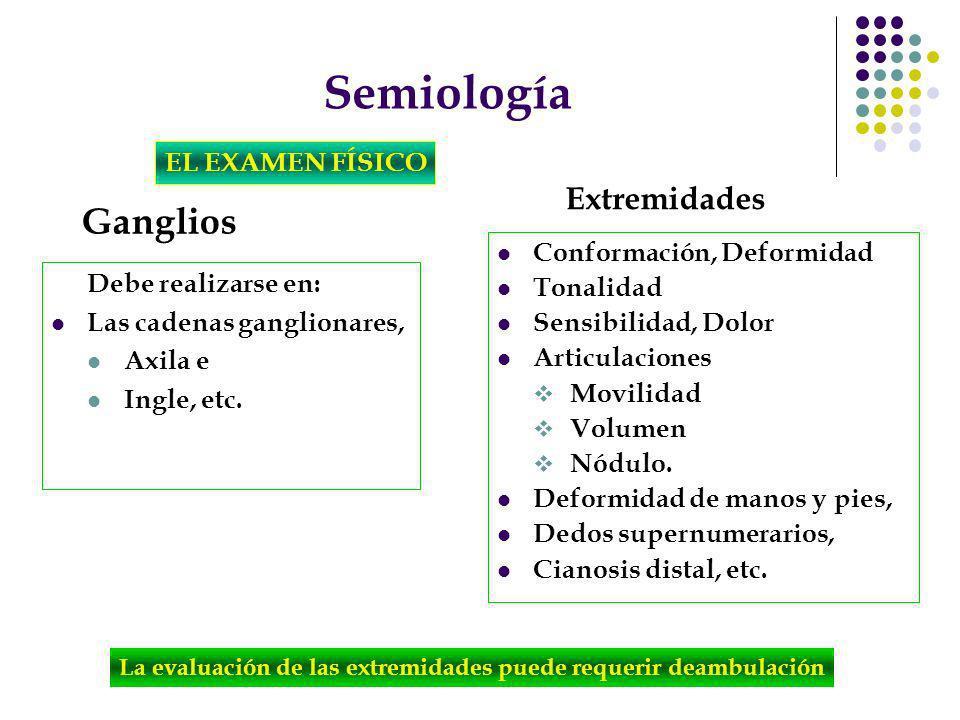 Semiología EL EXAMEN FÍSICO Ganglios Debe realizarse en: Las cadenas ganglionares, Axila e Ingle, etc. Conformación, Deformidad Tonalidad Sensibilidad