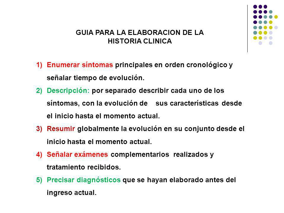 1)Enumerar síntomas principales en orden cronológico y señalar tiempo de evolución. 2)Descripción: por separado describir cada uno de los síntomas, co